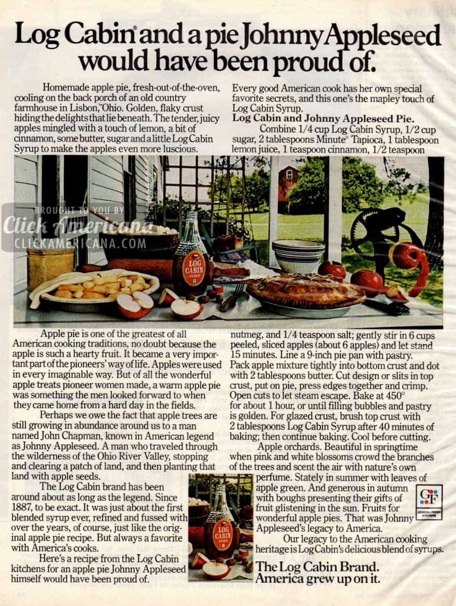 Johnny Appleseed Pie, made with maple syrup (1972)