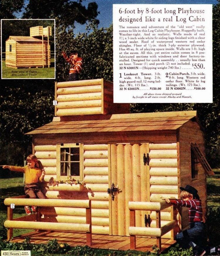 Log Cabin playhouse in 1968 Sears Wish Book Christmas catalog