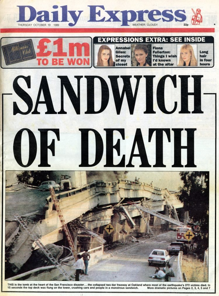 Loma Prieta earthquake - England - British newspaper 1989