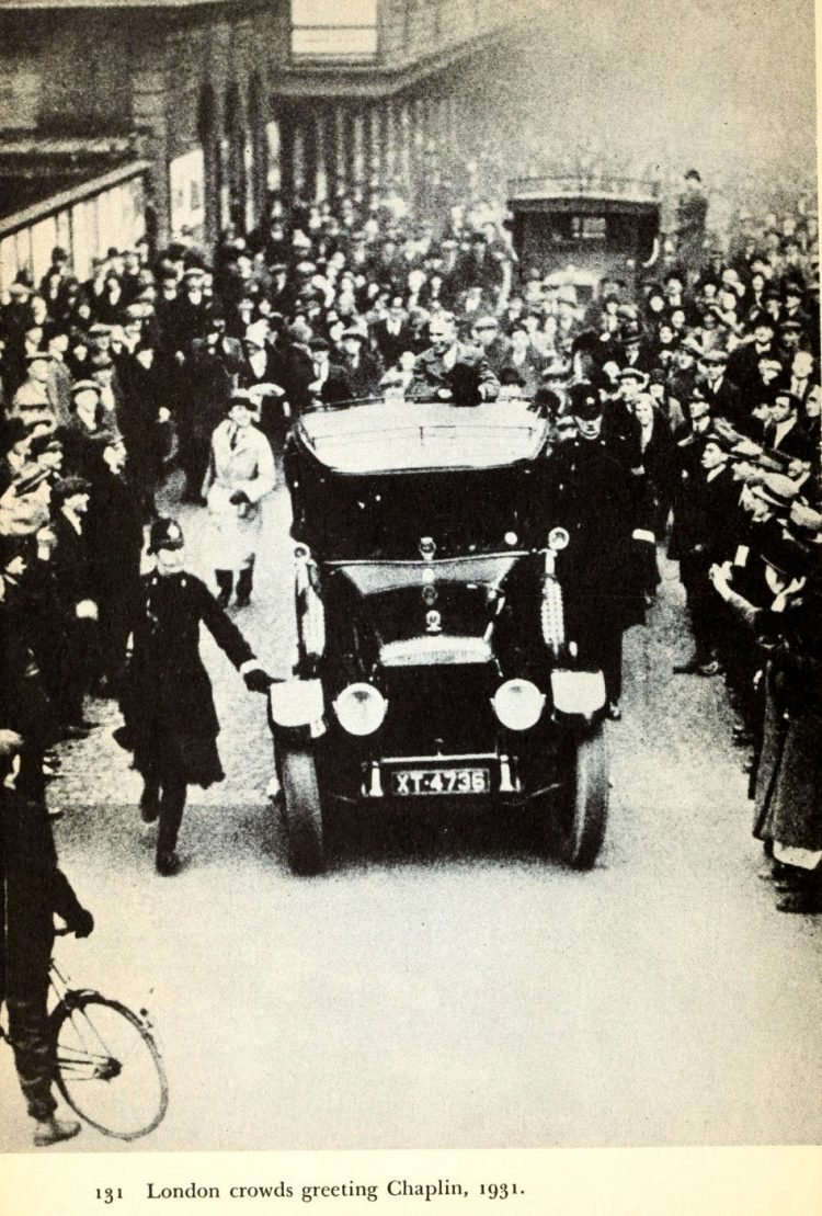 London England crowds greeting Charlie Chapin in 1931