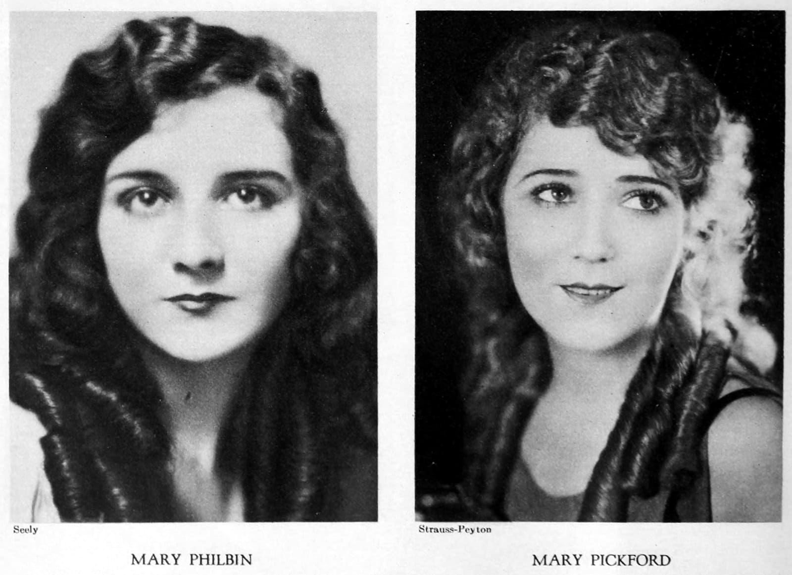 Long vintage 1920s hairstyles - Mary Philbin and Mary Pickford
