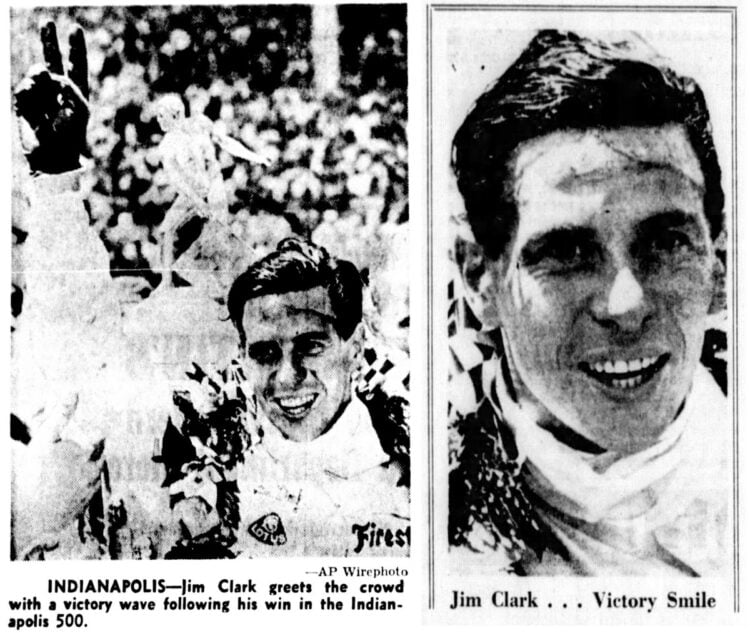 Looking back to when Jim Clark won the Indianapolis 500 race in a rear-engined car (1965)