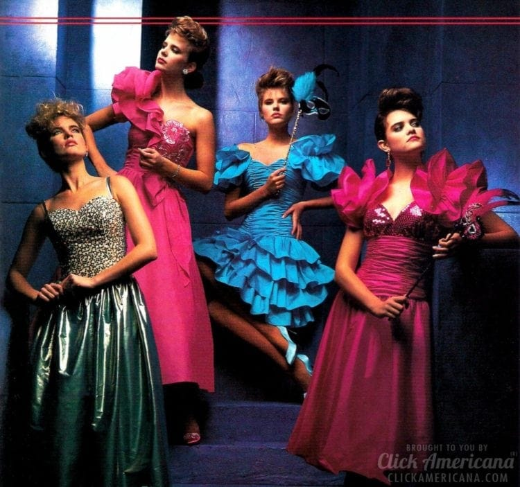 14bbedd4273 Pretty in pink  The hottest styles   colors for  80s prom dresses ...