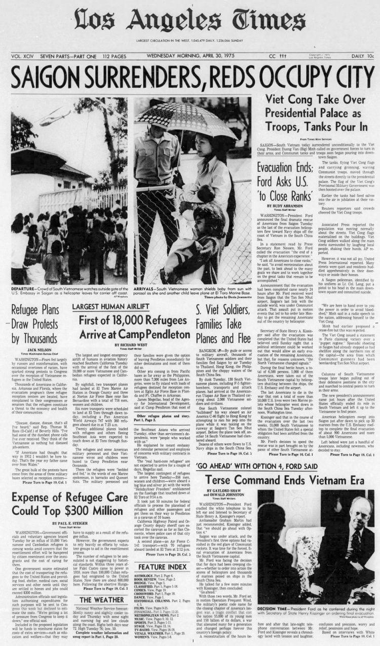 Los Angeles Times April 30 1975 - Saigon surrenders - Vietnam war