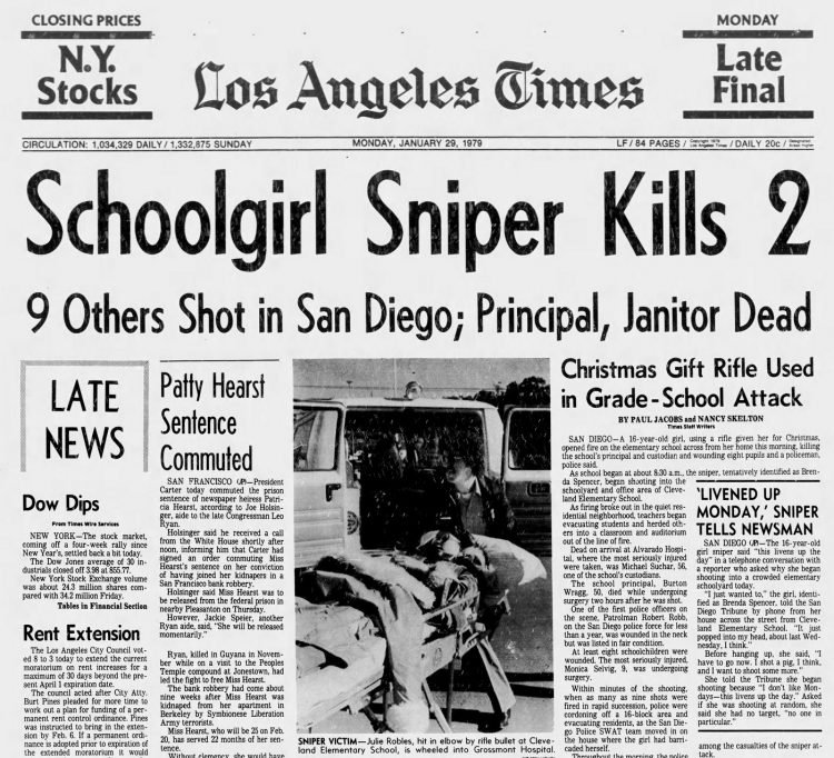 Los Angeles Times headline - Jan 29 1979 - Brenda Ann Spencer school shooting on front page
