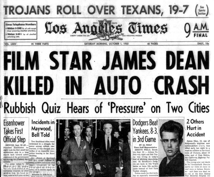 Young actor James Dean killed in car crash (1955) - Click