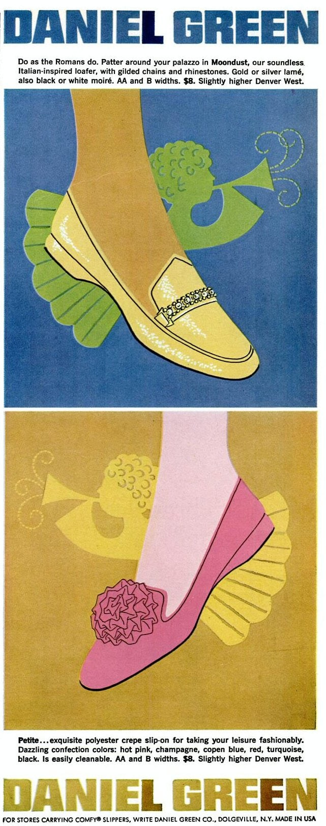 Low-heel Daniel Green shoes from 1969