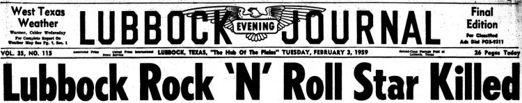 Lubbock rock 'n' roll star killed - Headline 1959