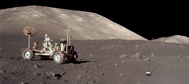 Lunar rover parked on moon