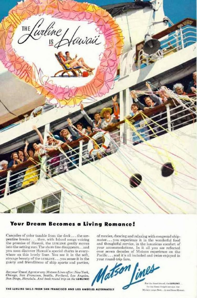 Lurline cruises cruise california to hawaii 1953