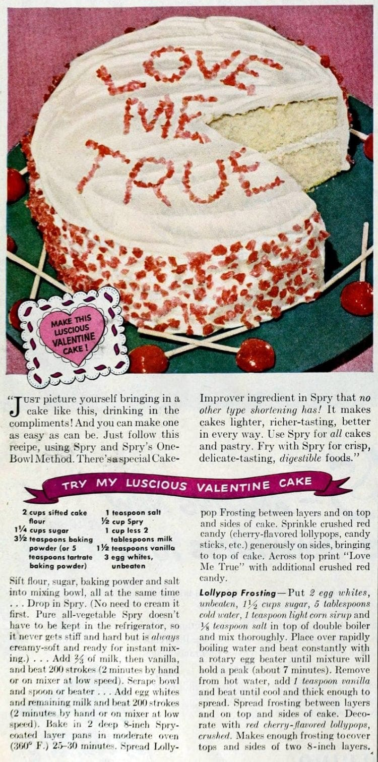 Luscious Valentine cake with lollipop frosting (1949)