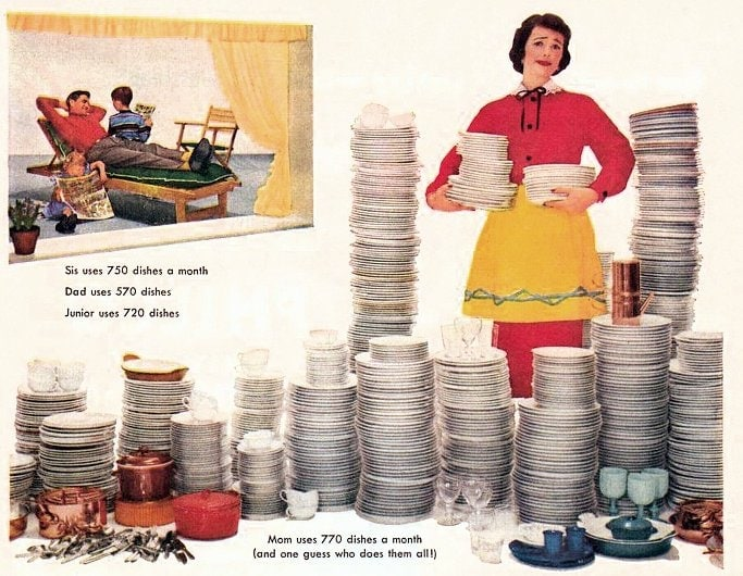 Lux kitchen detergent dishes - Housewife cleaning 1950s