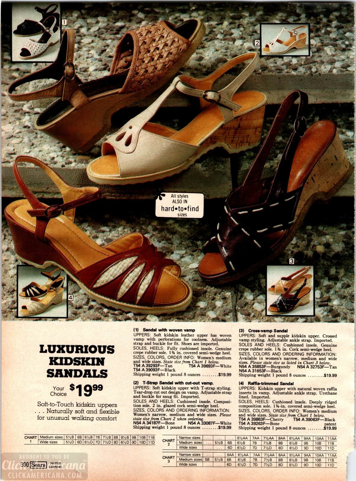 Luxurious 70s kidskin sandals with cross vamps, T-straps and ruffle trims plus cork sole
