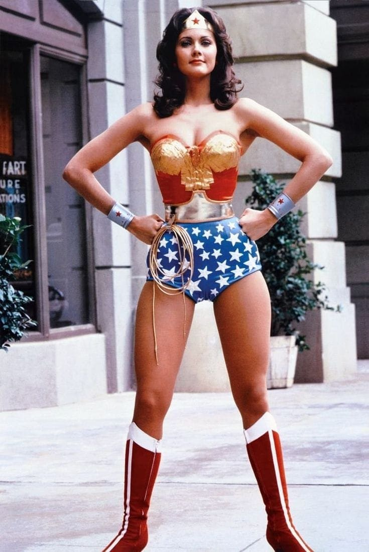 Lynda Carter in vintage Wonder Woman costume