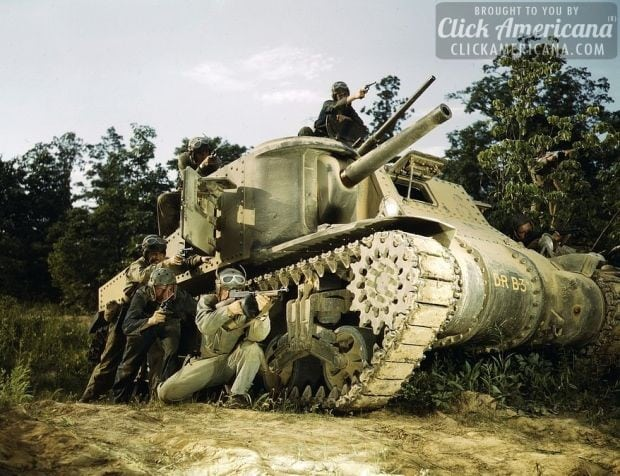 M-3 tank and crew using small arms, Ft. Knox, Ky