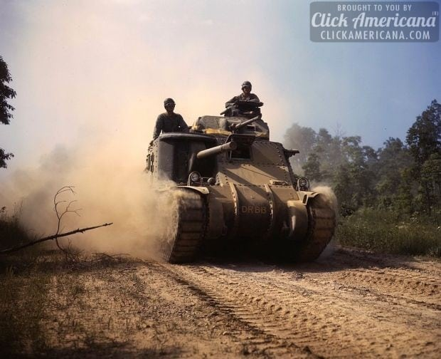 M-3 tanks in action, Ft. Knox, Ky-1942