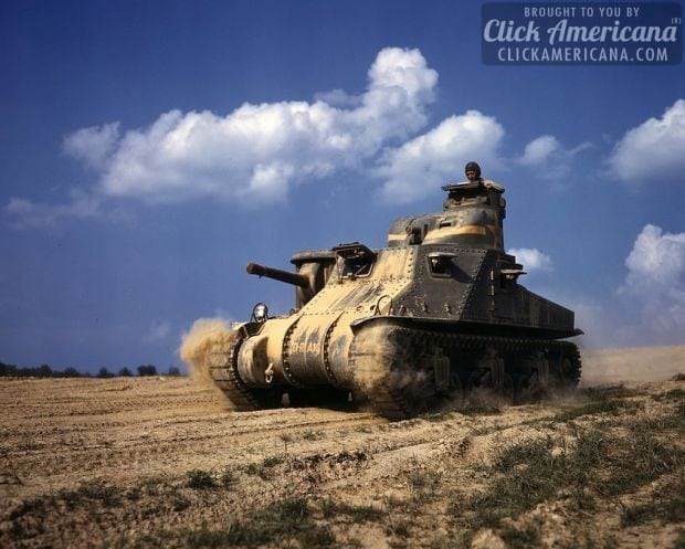 M-3 tanks in action, Ft. Knox, Ky