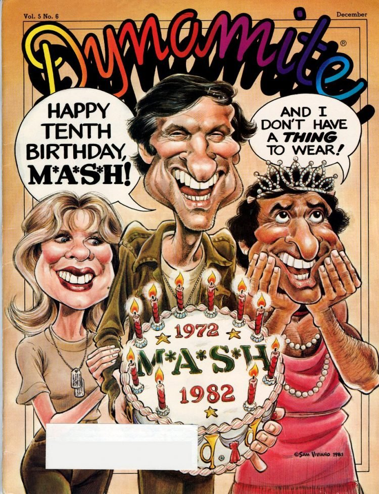 MASH TV show cast on cover on Dynamite Magazine - 1981
