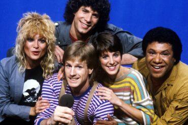 MTV VJs Mark Goodman, Nina Blackwood, Alan Hunter, Martha Quinn and JJ Jackson