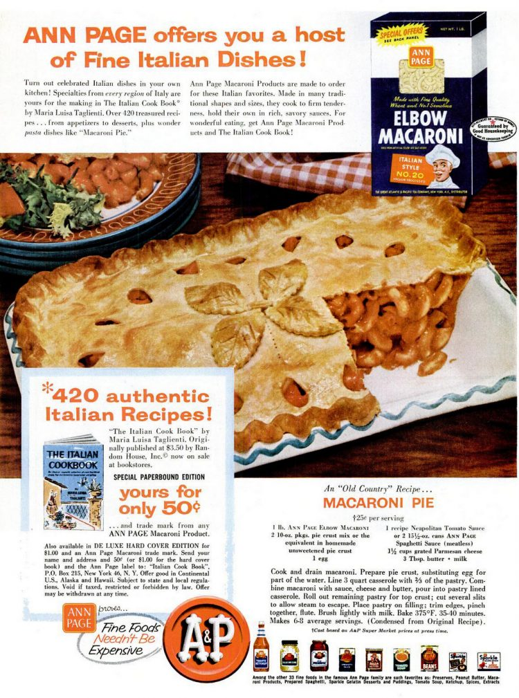 Macaroni pie, an 'old country' recipe (1957)