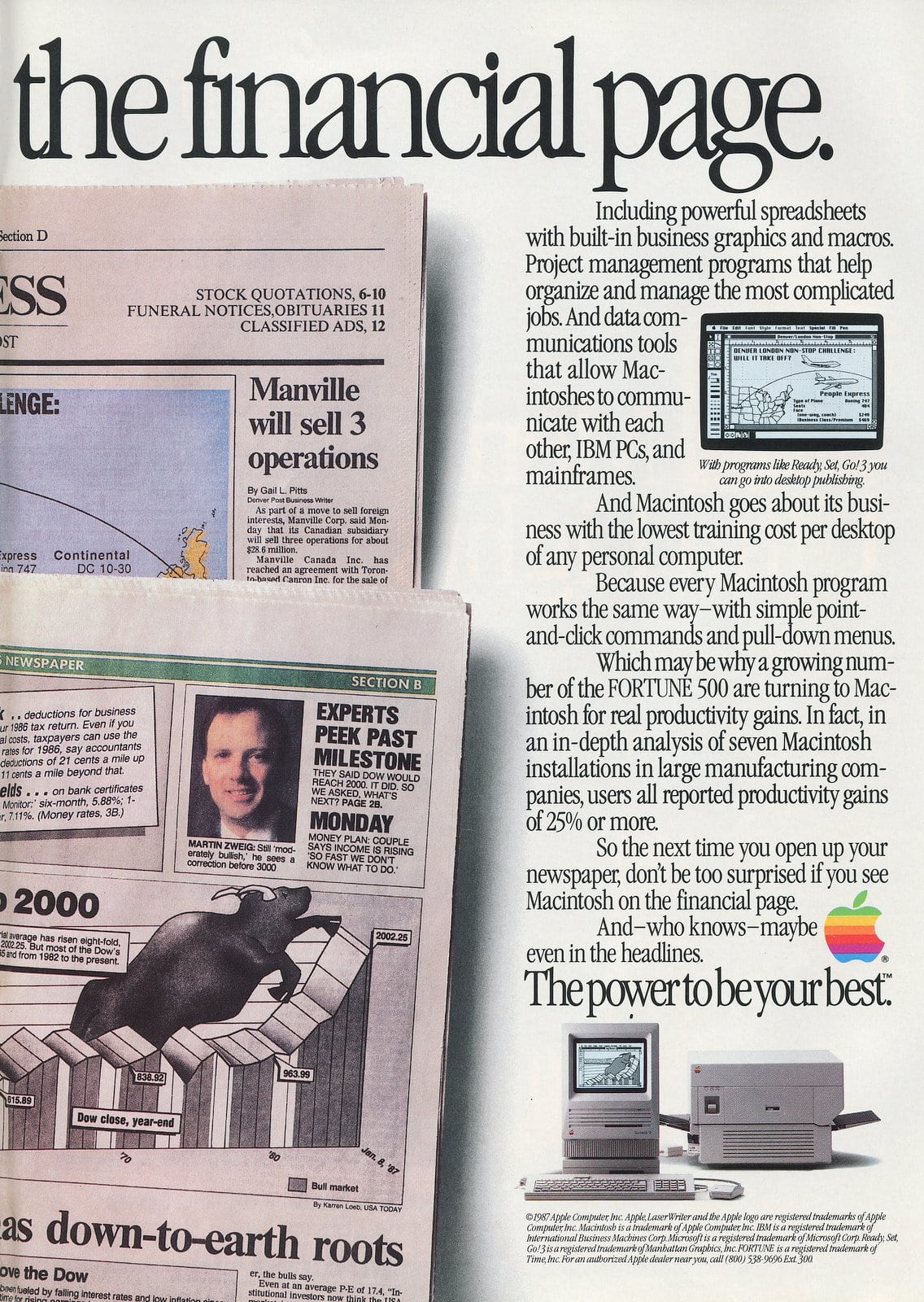Macintosh makes the financial page - Apple computers 1987 (2)