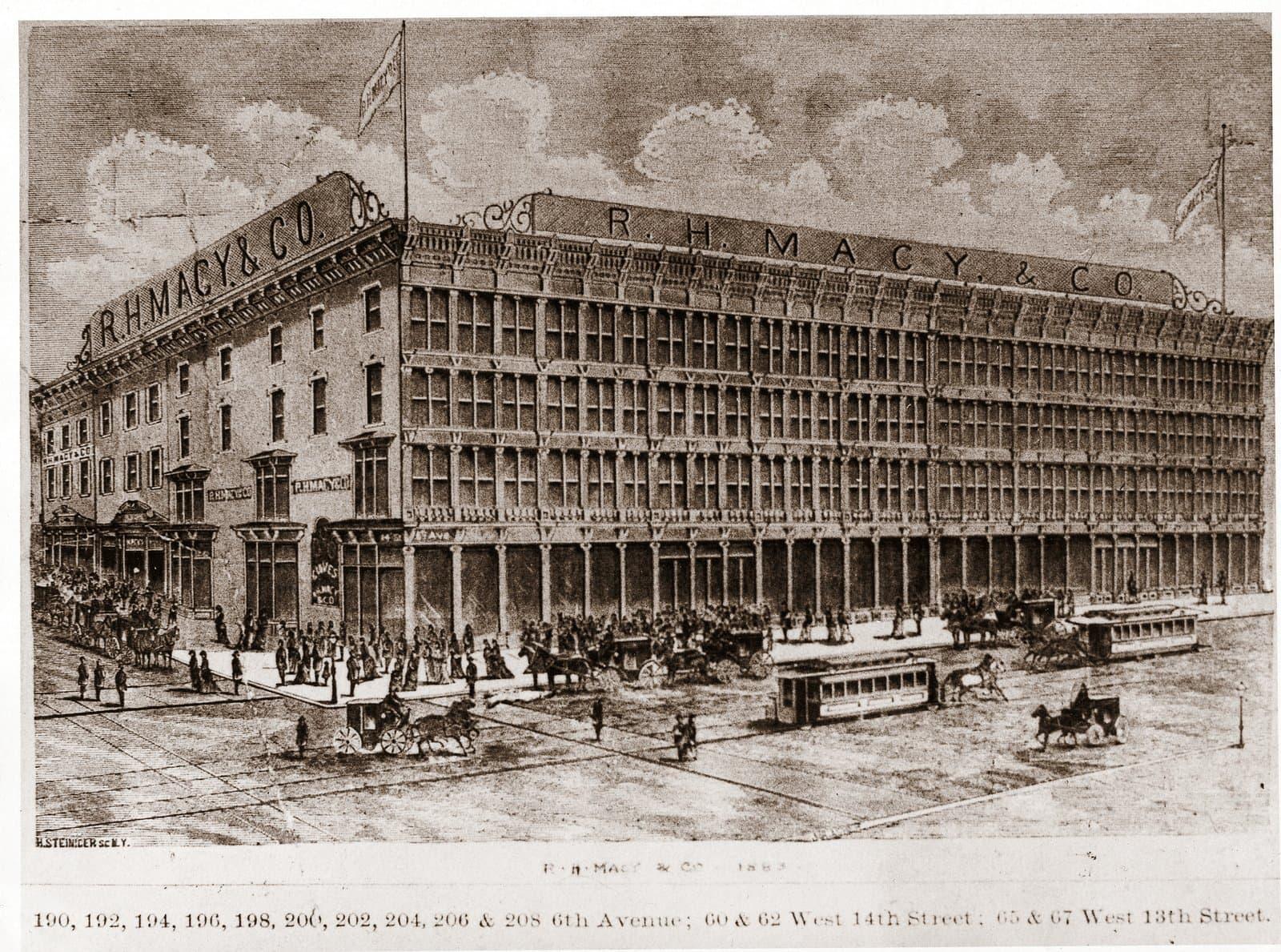 Macy'st 14th Street 6th Avenue NYC 1883