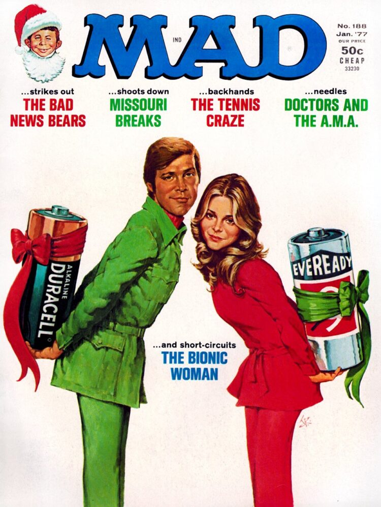 Mad Magazine - January 1977 - Bionic Woman & 6 Million Dollar Man