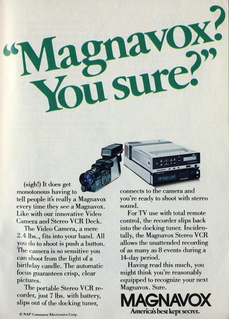 Magnavox video camera ad 1984