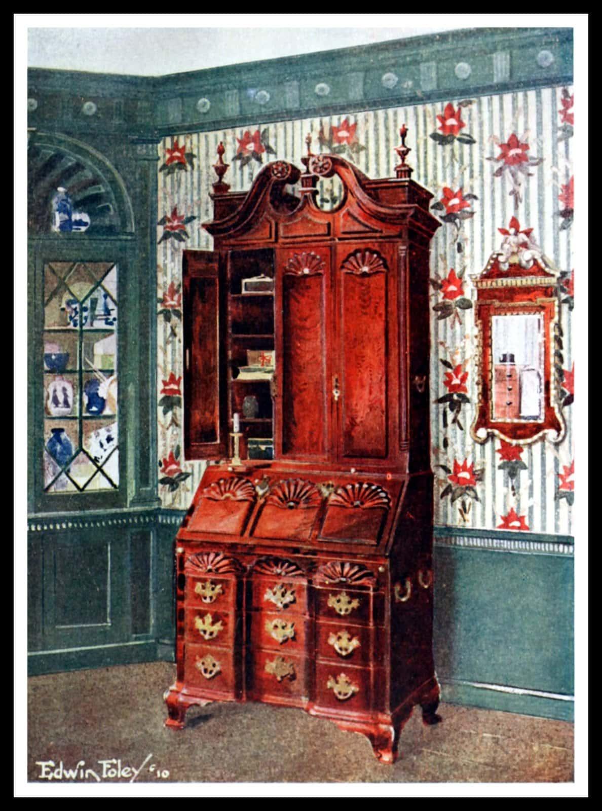 Mahogany cabinet-topped secretary writing desk - Providence, Maryland (1775)