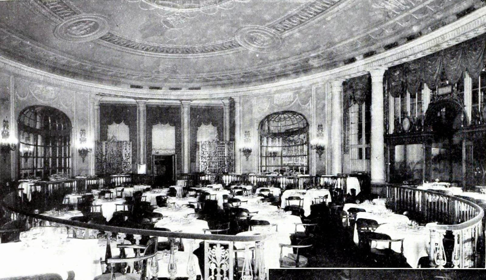 Main elliptical dining-room of the New York Ritz Hotel