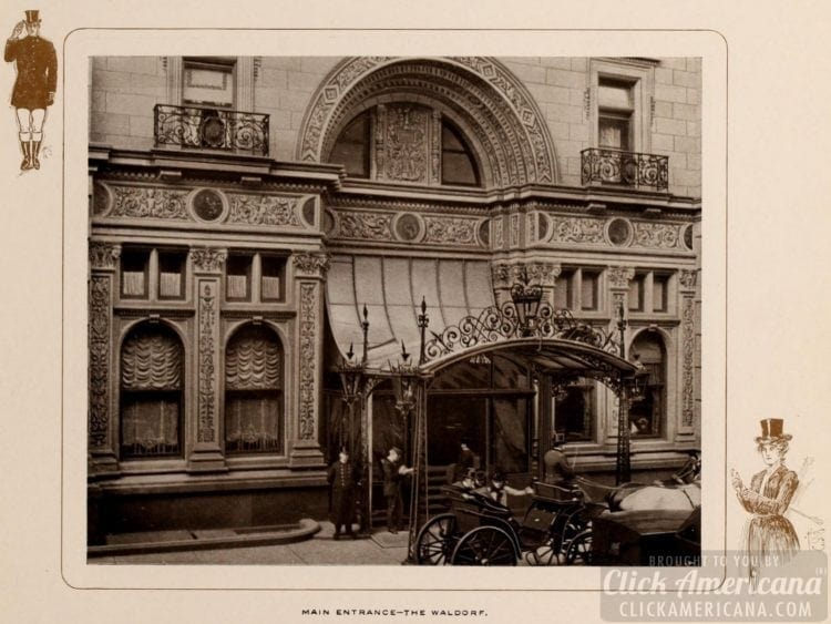 Main entrance of the Waldorf Hotel NYC in 1903