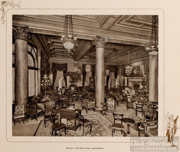 Main foyer at the Astoria Hotel in 1903
