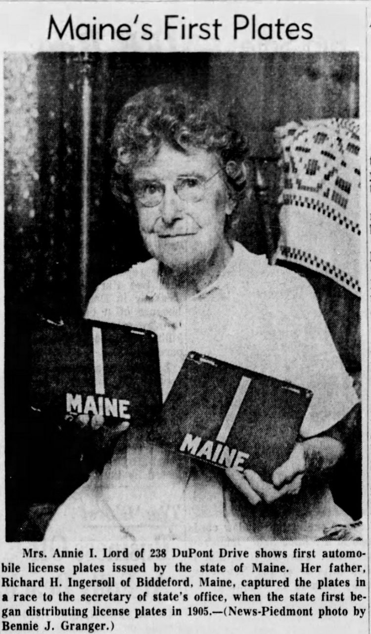 Maine's first license plates from 1905 - Shown in 1964