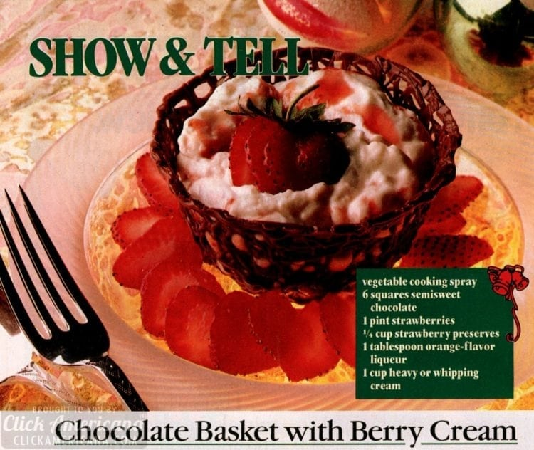 Make a chocolate basket filled with berry cream (1987)