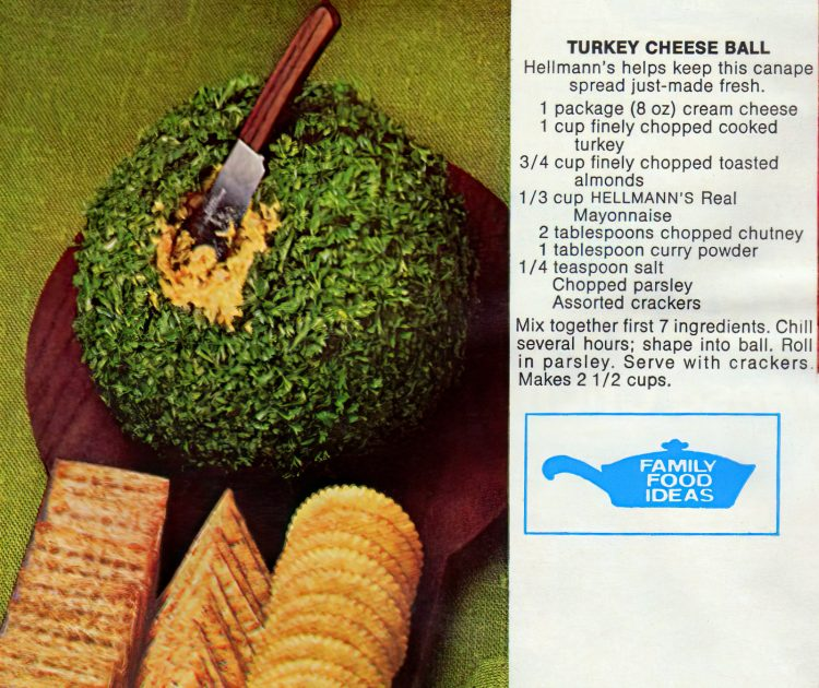 Make a turkey cheese ball appetizer for Thanksgiving, or as a snack from holiday leftovers (1972)