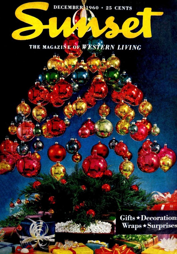 Make an invisible floating Christmas tree on Sunset magazine cover - 1960