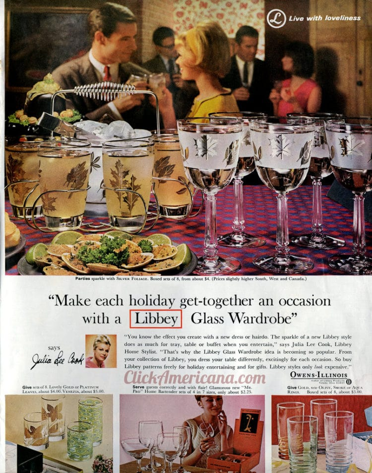 vintage Libbey drinking glass designs for holidays - 1965