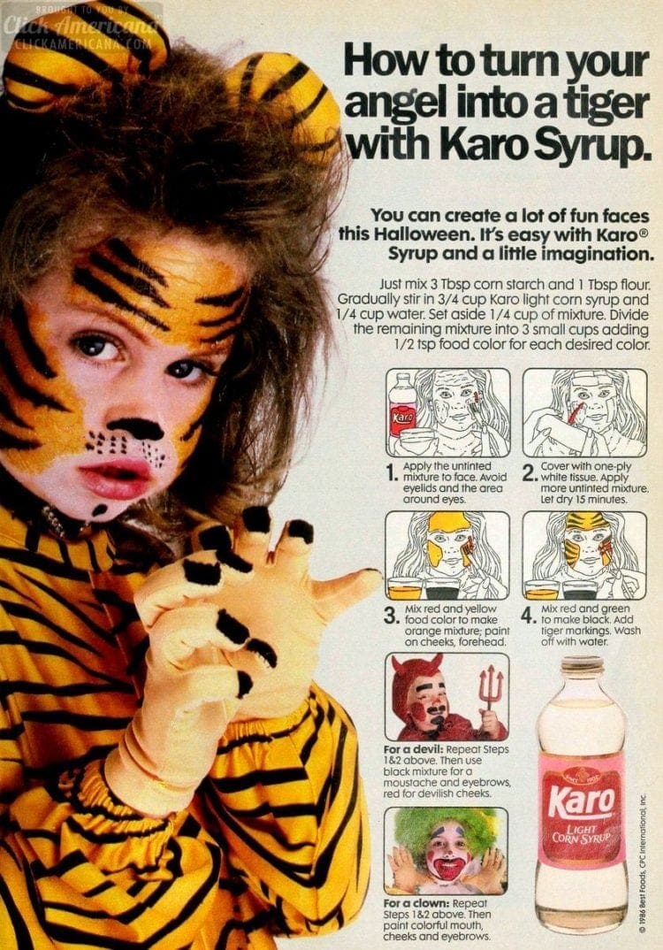 Safe homemade makeup for Halloween, made with corn syrup