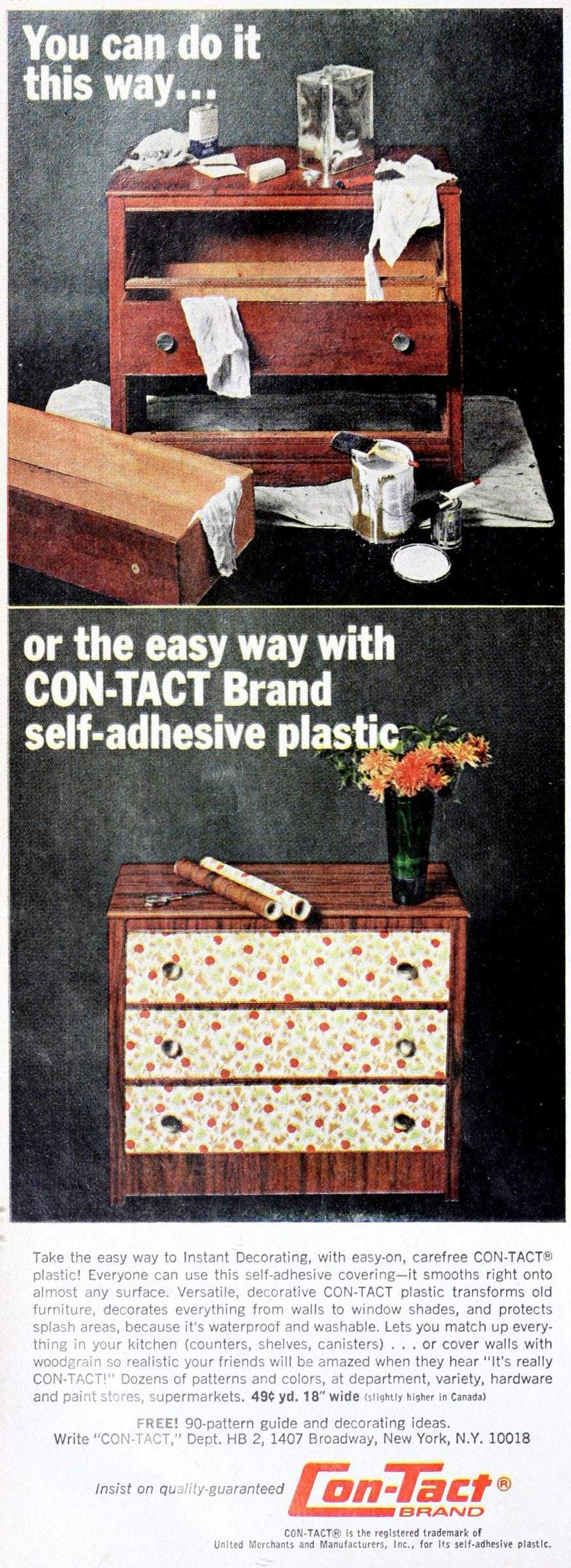 Make over furniture with sticky plastic coverings - Retro home decor