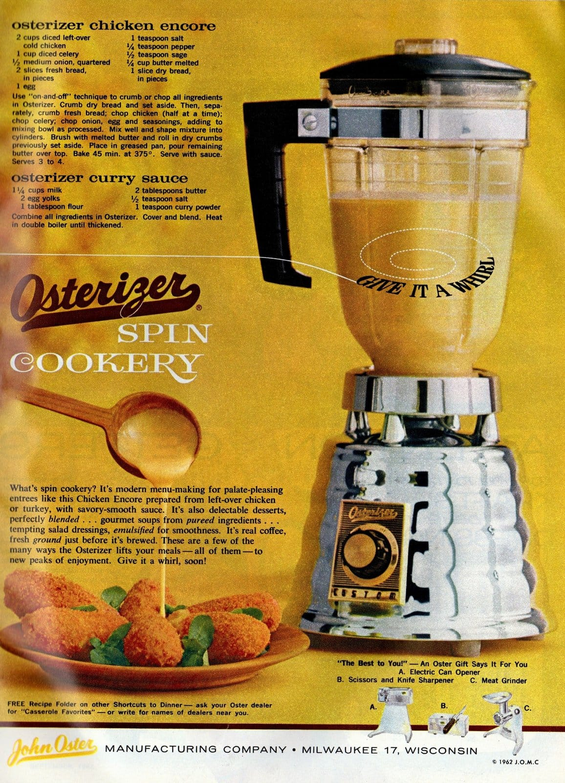 Make this chicken dinner with your blender (1963) - Osterizer spin cookery