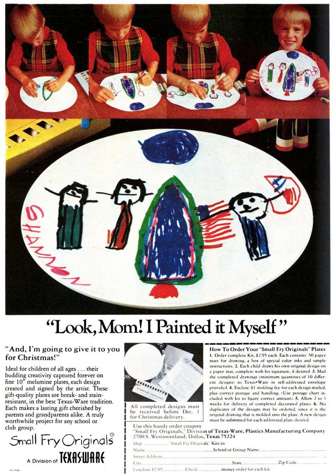 Make your own plate - Melamine craft gift 1970