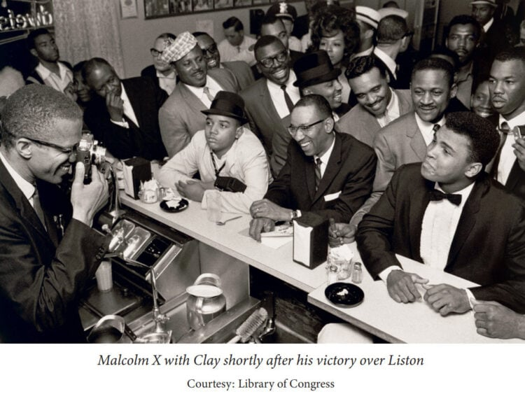 Malcolm X with Cassius Clay - Muhammad Ali - after his victory over Liston