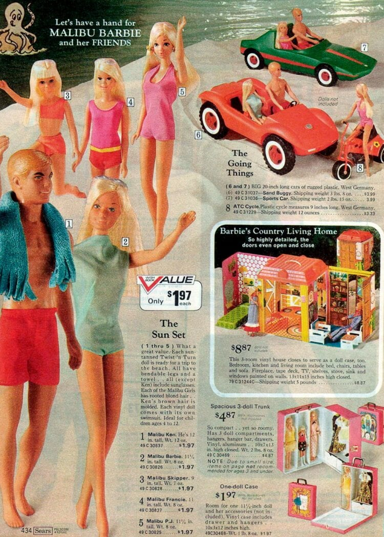 Malibu Barbie vintage catalog pages from 1973