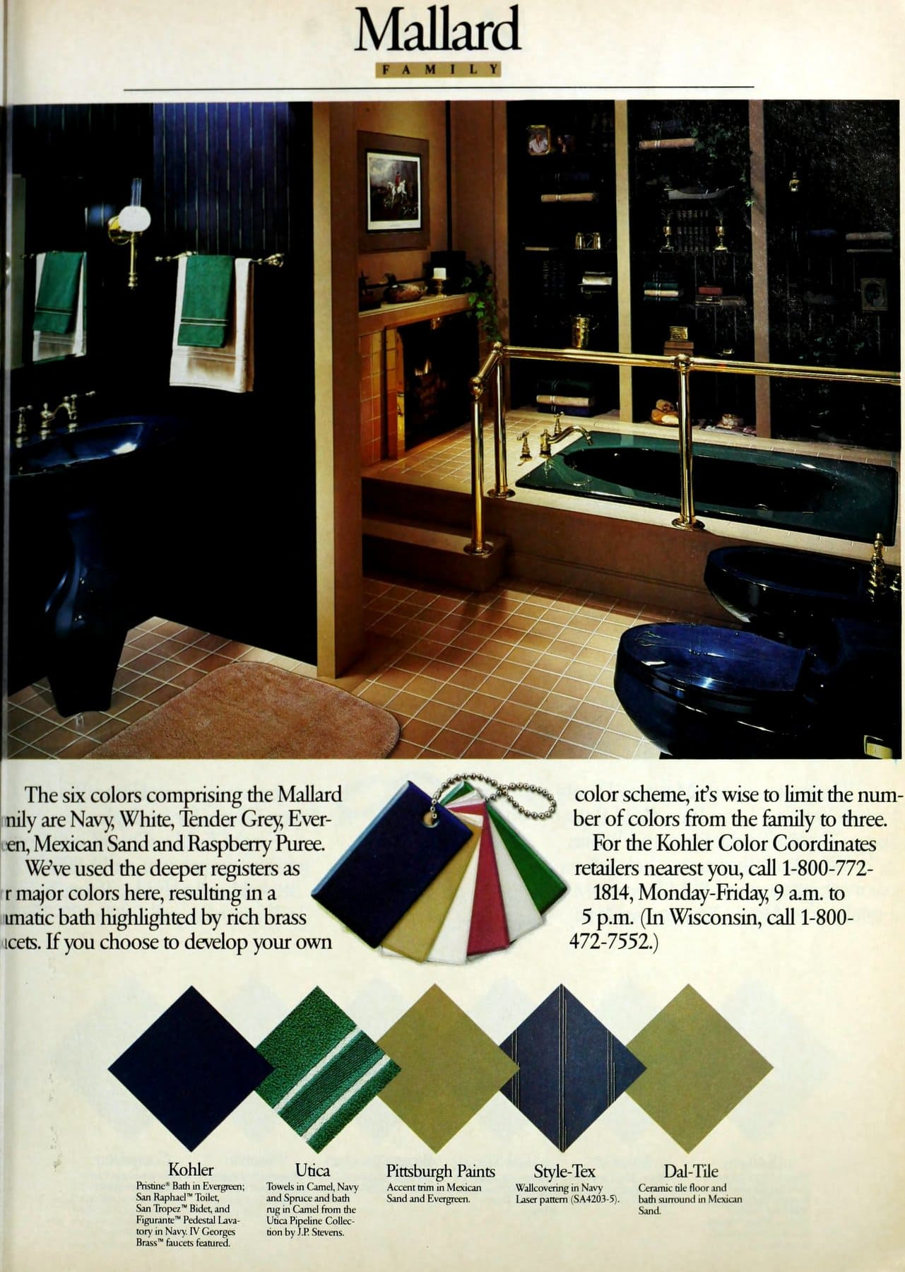 Mallard green family color bathroom decor scheme (1986)