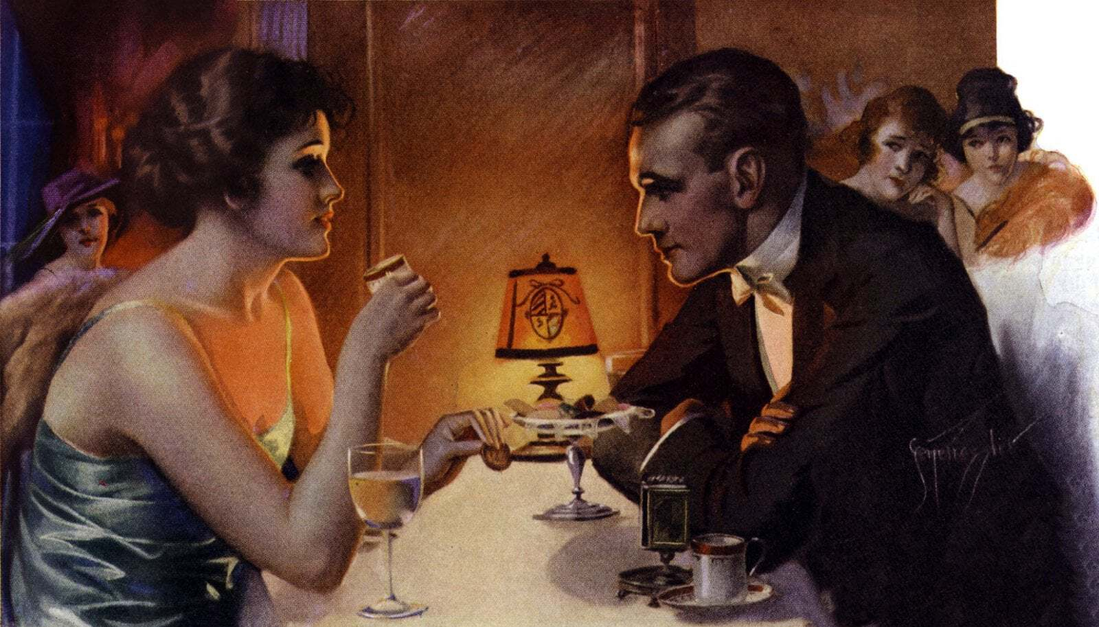 Man and woman at quiet dinner 1922