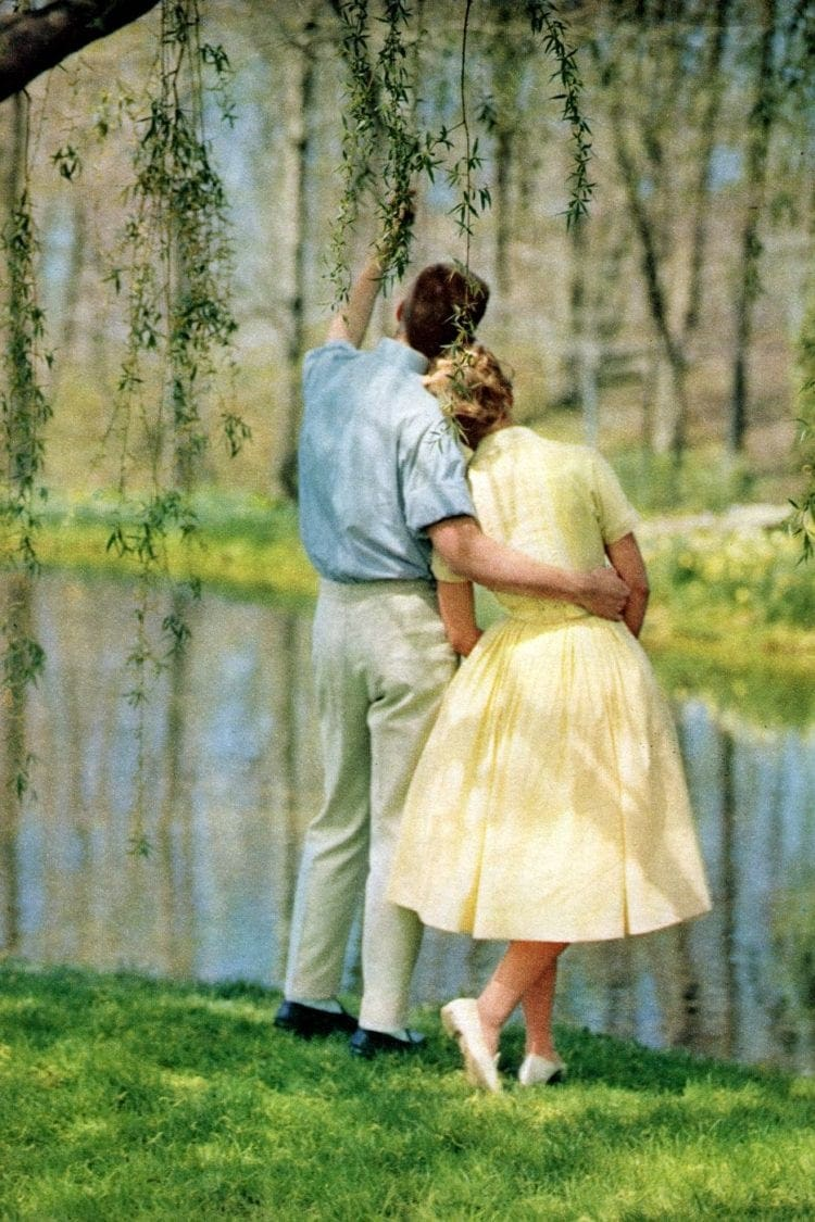 Man and woman standing by a river in 1959