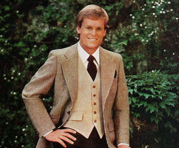 Man in suit jacket and vest from 1977