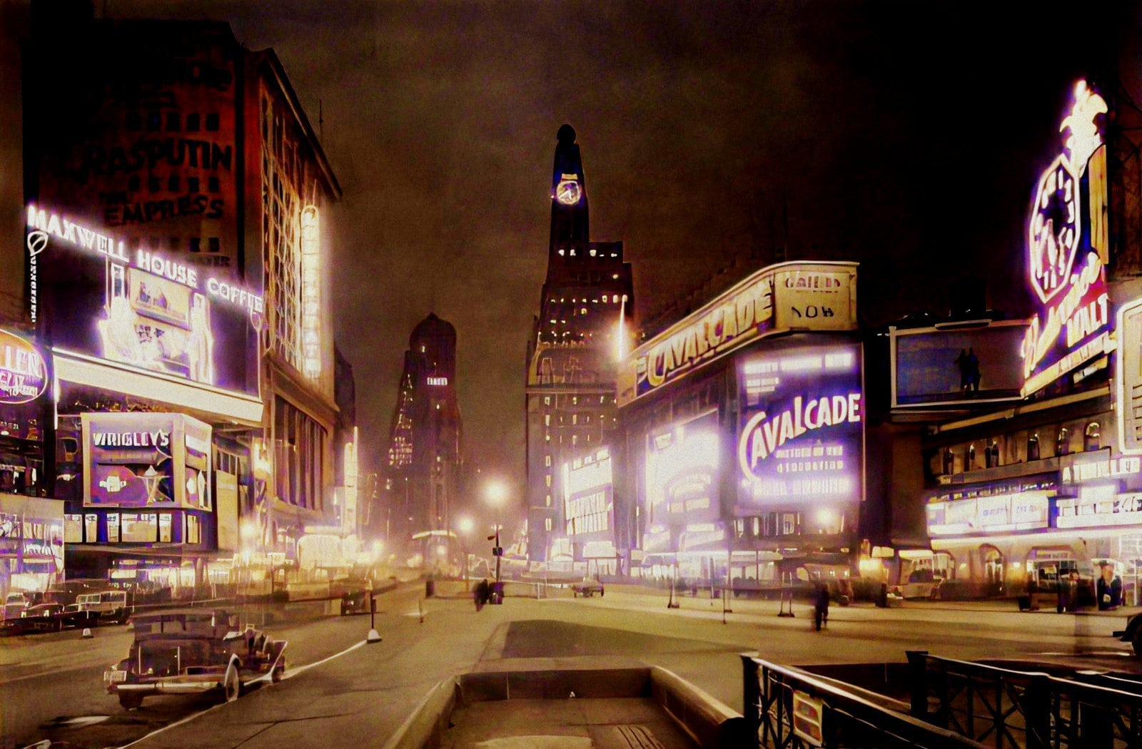 Manhattan - Times Square to south at night - Colorized (1930s)