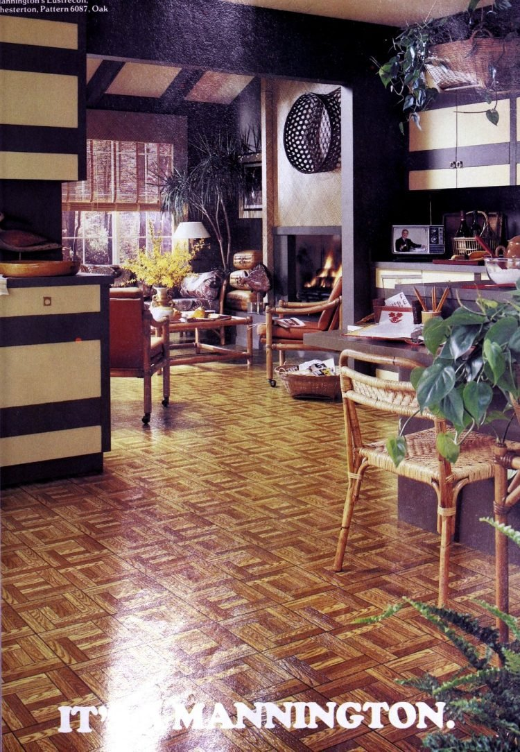 Mannington Oak flooring pattern - parquet from the 1970s