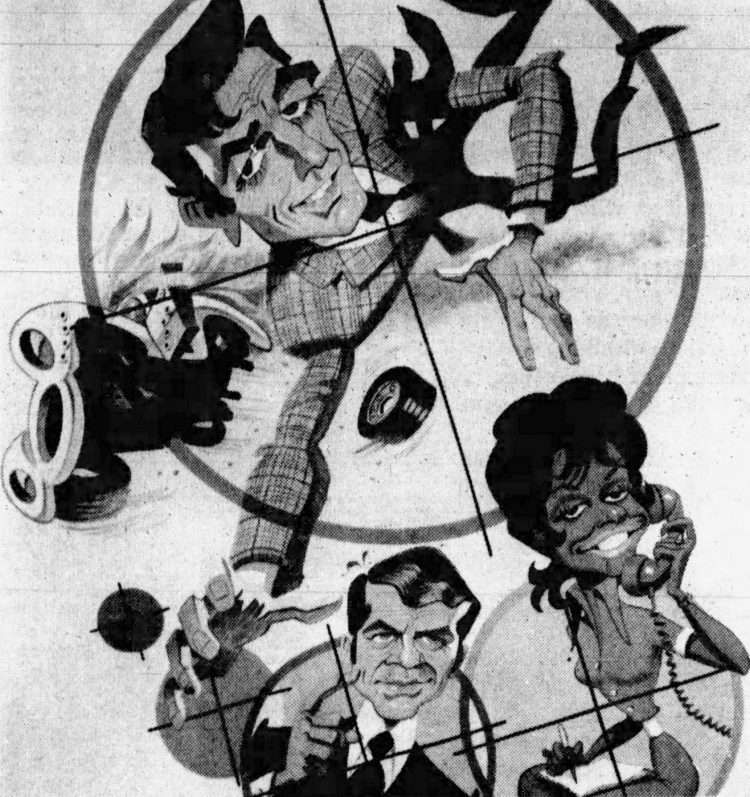 Mannix caricature from 1971 - including Robert Reed